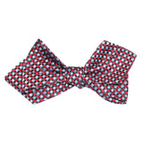 Navy and Light Blue Red Checkered Self Tie Diamond Tip Bow Tie 3