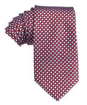 Navy and Light Blue Red Checkered Tie
