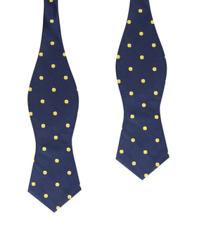 Navy on Large Yellow Dots Diamond Self Bow Tie