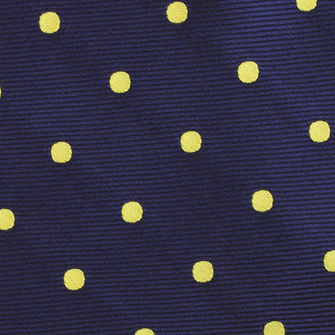Navy on Large Yellow Dots Diamond Bow Tie