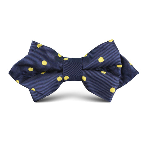 Navy on Large Yellow Dots Kids Diamond Bow Tie