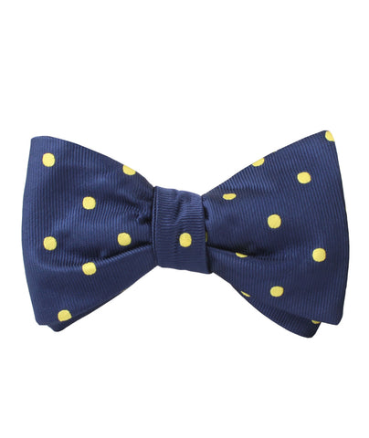 Navy on Large Yellow Dots Self Bow Tie