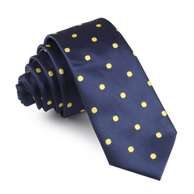 Navy on Large Yellow Dots Skinny Tie