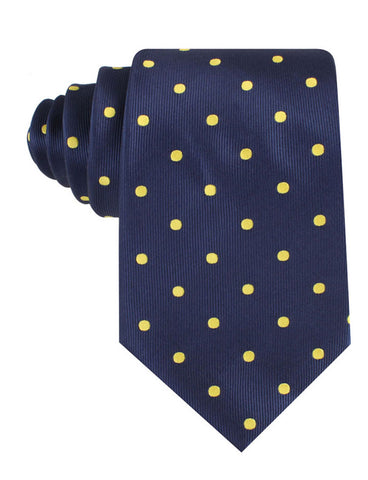 Navy on Large Yellow Dots Tie