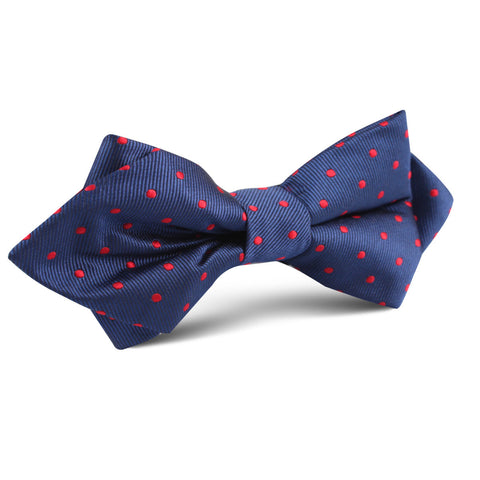 Navy on Red Mini Pin Dots Diamond Bow Tie