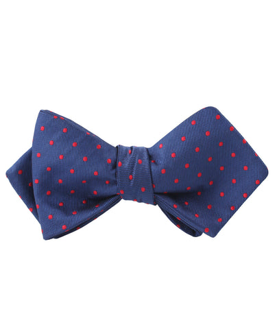 Navy on Red Mini Pin Dots Diamond Self Bow Tie