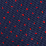 Navy on Red Mini Pin Dots Fabric Kids Diamond Bow Tie
