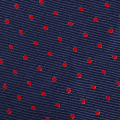 Navy on Red Mini Pin Dots Bow Tie