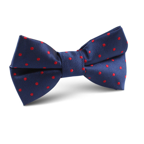 Navy on Red Mini Pin Dots Kids Bow Tie