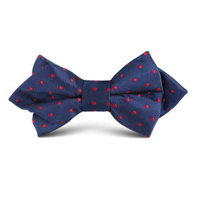 Navy on Red Mini Pin Dots Kids Diamond Bow Tie