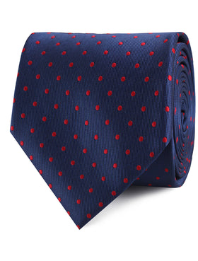 Navy on Red Mini Pin Dots Tie