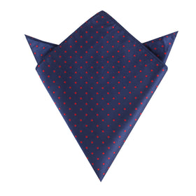 Navy on Red Mini Pin Dots Pocket Square