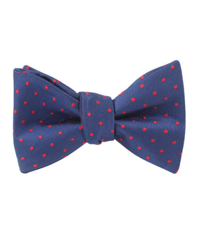 Navy on Red Mini Pin Dots Self Bow Tie
