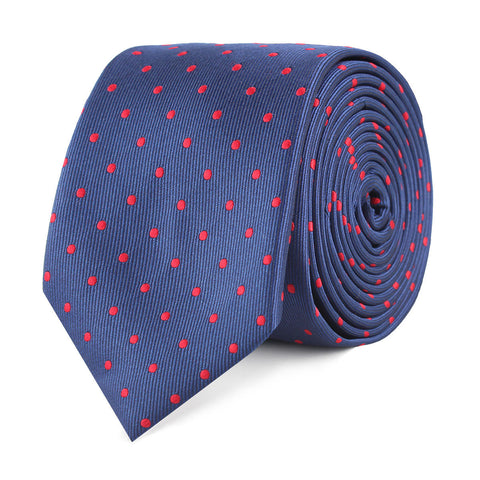 Navy on Red Mini Pin Dots Skinny Tie