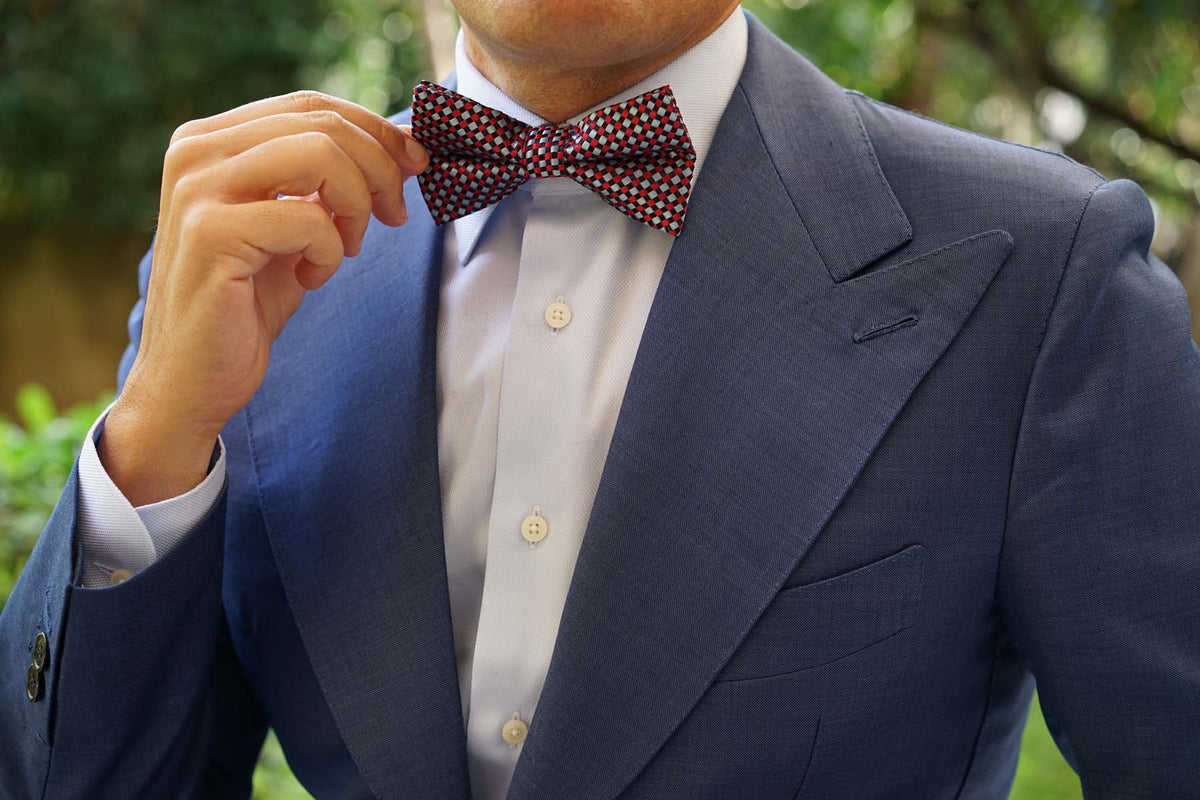 Navy and Light Blue Red Checkered - Bow Tie