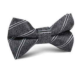 New York Charcoal Striped Kids Bow Tie
