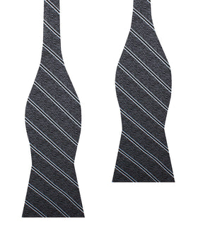 New York Charcoal Striped Self Bow Tie