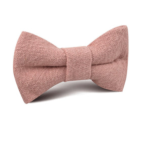 New York Dusty Nude Pink Linen Kids Bow Tie