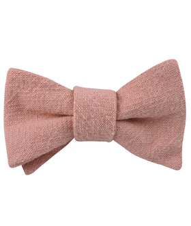 New York Dusty Nude Pink Linen Self Bow Tie