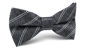 New York Charcoal Striped Bow Tie