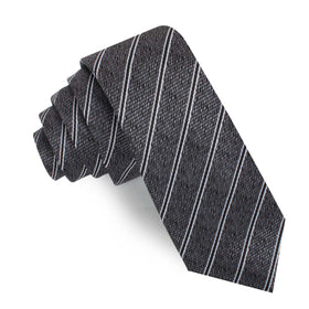 New York Charcoal Striped Skinny Tie