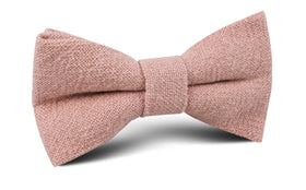 New York Dusty Nude Pink Linen Bow Tie