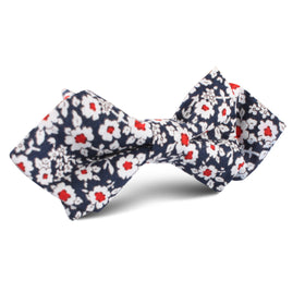New York Navy Floral Diamond Bow Tie