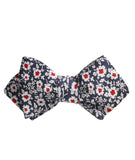 New York Navy Floral Diamond Self Bowtie