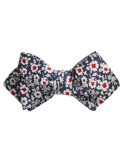 New York Navy Floral Diamond Self Bow Tie