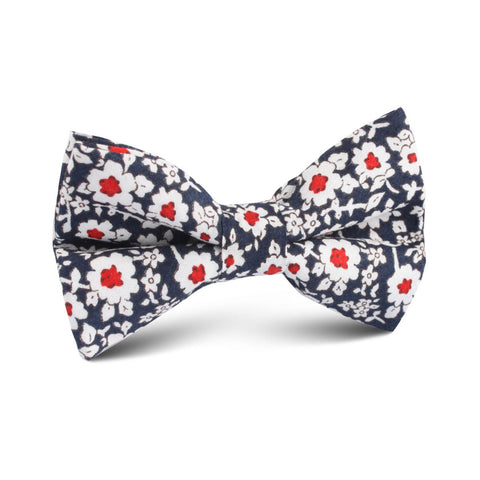 New York Navy Floral Kids Bow Tie