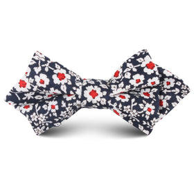 New York Navy Floral Kids Diamond Bow Tie