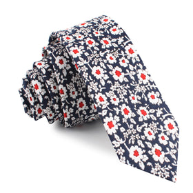 New York Navy Floral Skinny Tie