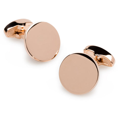New York Rose Gold Circle Cufflinks