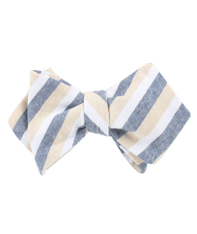 New York Striped Diamond Self Bow Tie