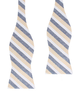 New York Striped Self Bow Tie