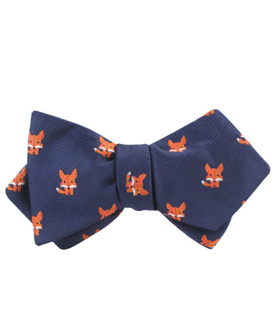 North American Kit Fox Diamond Self Bow Tie
