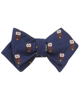 Northern Brown Owl Diamond Self Bow Tie