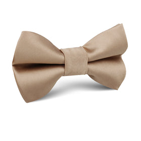 Nude Brown Satin Kids Bow Tie