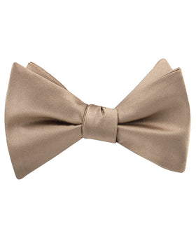 Nude Brown Satin Self Bow Tie