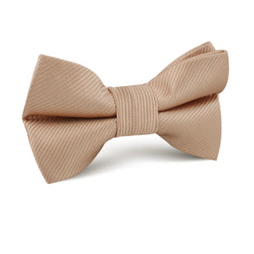 Nude Brown Twill Kids Bow Tie