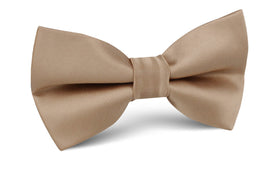 Nude Brown Satin Bow Tie
