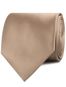 Nude Brown Satin Necktie