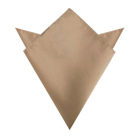 Nude Brown Satin Pocket Square