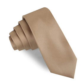 Nude Brown Satin Skinny Tie
