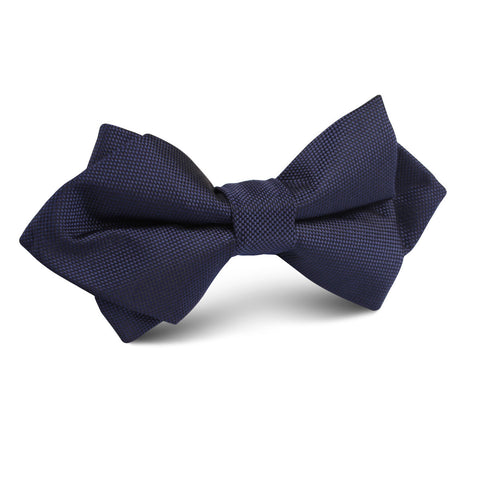 Nude Navy Blue Diamond Bow Tie