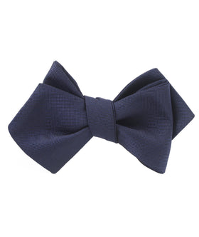 Nude Navy Blue Diamond Self Bow Tie