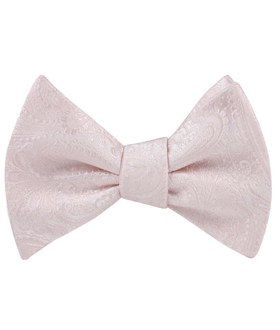 Nude Pink Paisley Self Bow Tie