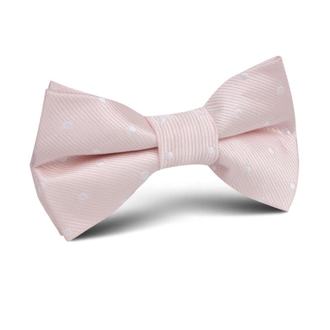 Nude Pink Polka Dots Kids Bow Tie