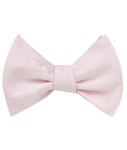 Nude Pink Polka Dots Self Bow Tie