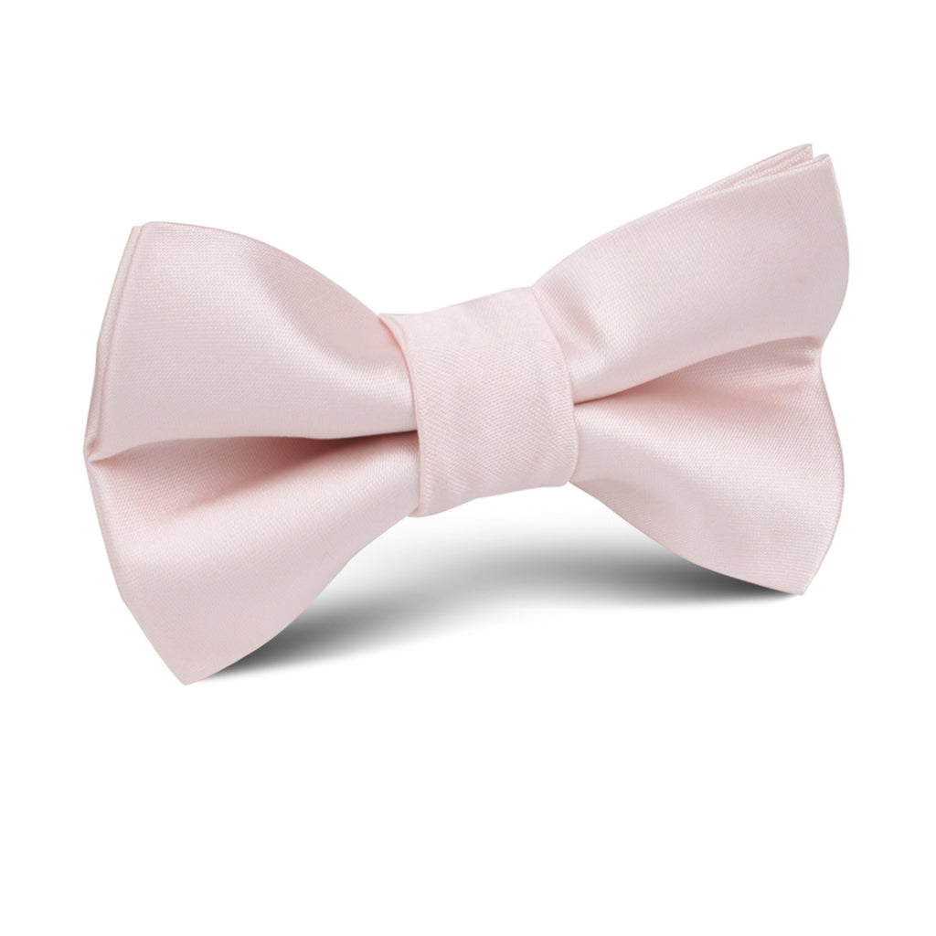 Nude Pink Satin Kids Bow Tie